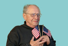 Senior man with american flag isolated Royalty Free Stock Image