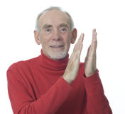 Senior man applauding Stock Photo