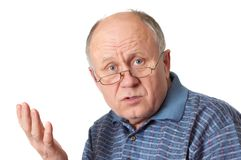 Senior man arguing and gesturin Royalty Free Stock Photo