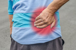 Senior man with back pain. Royalty Free Stock Photo