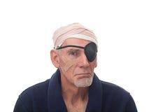 Senior man with bandages Stock Photo