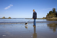 Senior Man and Beagle Dog Royalty Free Stock Photo
