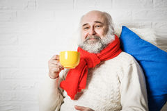 Senior Man with Beard Drinking Tea in Winter. Portrait of Happy Senior Man with Beard in Winter Clothes Drinking Tea. Mature Old Man with Mug Relaxing. White Royalty Free Stock Images