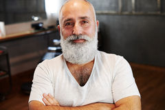 Senior man with beard and moustache Royalty Free Stock Photo