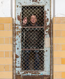 Senior man behind locked barred door in cell Royalty Free Stock Images