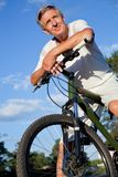 Senior man with bicycle Stock Photos