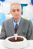 Senior man with birthday cake Royalty Free Stock Photo