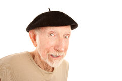 Senior man in black beret Royalty Free Stock Photo