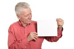 Senior man with blank Royalty Free Stock Image
