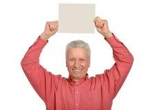 Senior man with blank Stock Photography