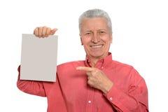 Senior man with blank Royalty Free Stock Photos