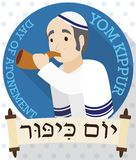 Senior Man Blowing a Shofar behind Scrolls for Yom Kippur, Vector Illustration Stock Images