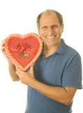 Senior man  box of Valentine day chocolate candy Royalty Free Stock Image
