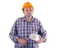 A senior man builder with the project Royalty Free Stock Photo