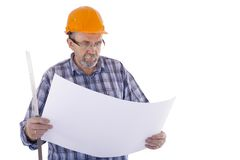 A senior man builder with the project Stock Images