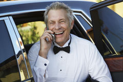 Senior Man On A Call stock images