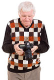 Senior man camera Stock Photography