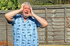 Senior man cannot believe it. Exasperated. A senior man with his hands to his forehead feeling exasperated. He cannot believe what he has just seen or heard stock images