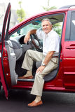 Senior man  in the car Royalty Free Stock Photos