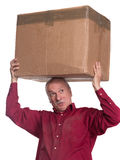 Senior man carries a heavy box Stock Photos