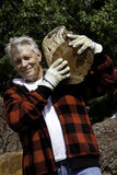 Senior man carrying firewood over his shoulders Royalty Free Stock Image