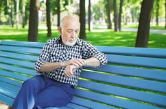 Senior man in casual outdoors Stock Photo