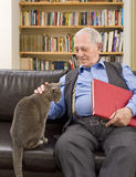 Senior man and cat. Senior man with book at home caressing a cat on the sofa Stock Photos