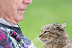 Senior man with cat. Close up of senior man holding his cat on his chest and cuddling Stock Photography