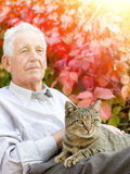 Senior man with cat. Senior man cuddle tabby cat in his lap in garden Stock Photos