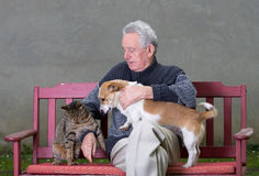Senior man with cat and dog. Senior man wirh dog and cat on his lap on bench Stock Photography