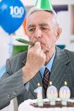 Senior man celebrates birthday Stock Image