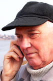 Senior man with cell phone Stock Image