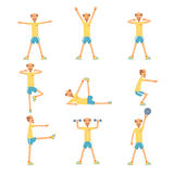 Senior man character exercising set, healthy active lifestyle retiree, elder fitness vector Illustrations. On a white background Stock Image