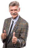 Senior man. Cheerful senior man is showing thumbs up isolated on white background stock images