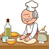 Baker kneading dough and making bread in the bakery kitchen. Senior man chef kneading pastry or dough in the bakery kitchen. Vector illustration stock illustration