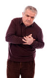 Senior man with chest pain Stock Image
