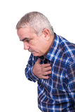 Senior man with chest pain Stock Images