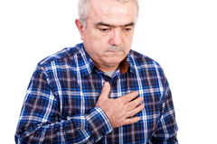 Senior man with chest pain Royalty Free Stock Photo