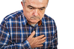 Senior man with chest pain Royalty Free Stock Images