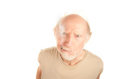 Senior man with cigarette stub Royalty Free Stock Image
