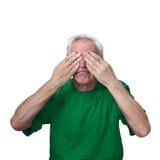 Senior man closed eyes royalty free stock images