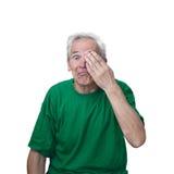 Senior man closed one eye Royalty Free Stock Photo