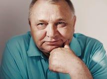 Senior man closeup over white Royalty Free Stock Photo