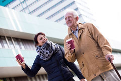 Senior man with coffee cup Royalty Free Stock Photography