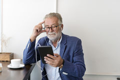 Senior Man Coffee Shop Communication Connection Technology Conce Stock Images