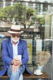 Senior Man Coffee Shop Communication Connection Technology Conce Stock Photos