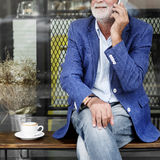 Senior Man Coffee Shop Communication Connection Technology Conce Royalty Free Stock Photo