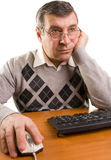 Senior man with computer Royalty Free Stock Image