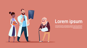 Senior Man On Consultation With Doctors Group, Pensioner In Hospital Health Care Concept. Flat Vector Illustration Stock Photo