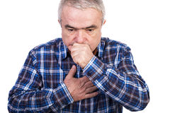 Senior man coughing and accusing chest pain. Isolated on white background Stock Photography